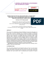Production of Nylon-6 Fr Lever Using an Injection Moulding Tool and Identification of Optimum Process Parameter Combination