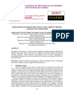 Supplier Development Practices and Current Trends a Review of Literature
