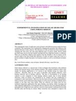Experimental Investigation of Solar Air Heater Using Porous Medium