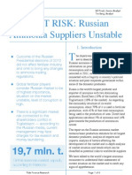 Market Risk - Russian Ammonia Suppliers Unstable
