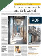 Piden declarar en emergencia el patrimonio de la capital