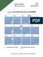 2013 MIRA Citizenship Clinic CALENDER