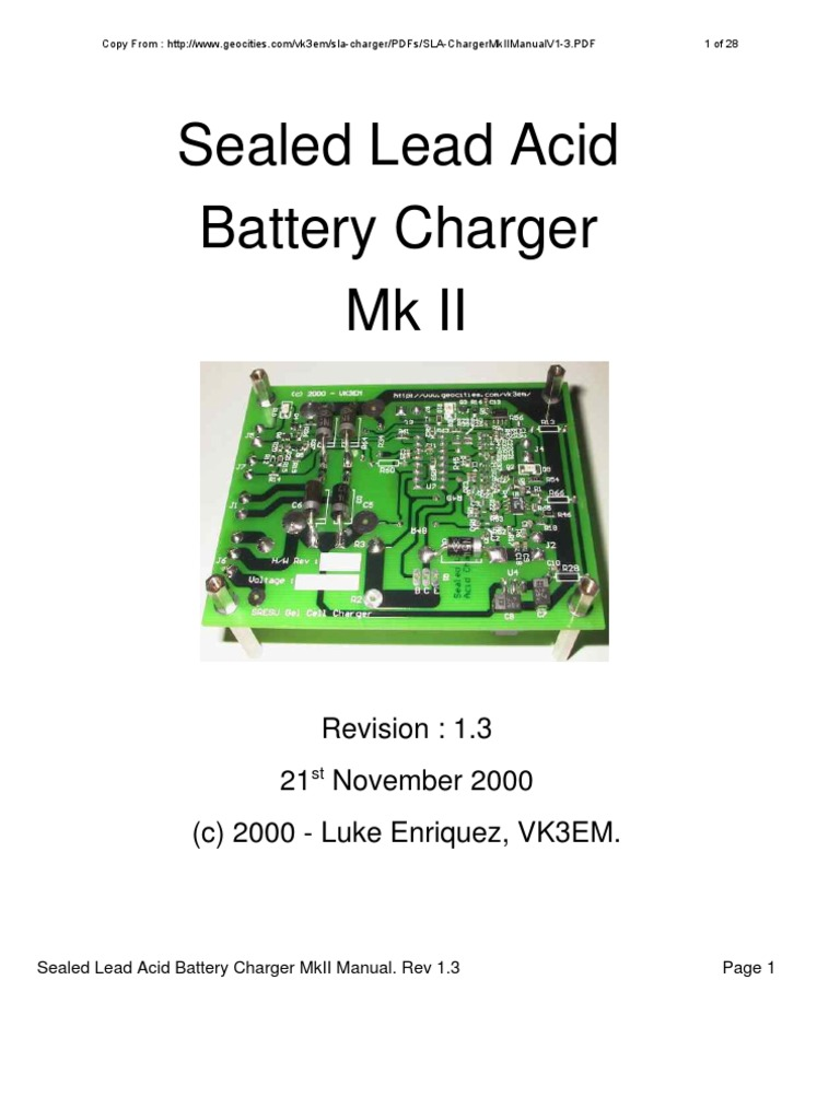 Sealled Lead Acid Charger Mkii Manual V1 3 Battery Solar Circuit Can Charge 12v Or Sla Electricity