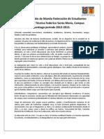 Discurso cambio de mando - Victoria Moreau Presidenta FEUSAM 2013