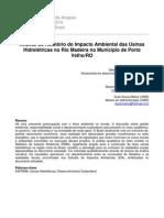 Analise do Relatório do Impacto Ambiental das Usinas Hidrelétricas no Rio Madeira no Município de Porto Velho/RO