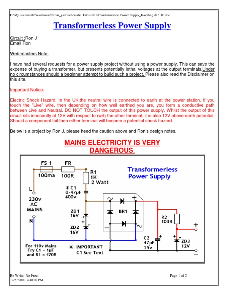 A Very Compact Simple Transformerless Power Supply Circuit Is 12v Inverting Ac Dc Series And Parallel Circuits