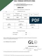 International Tonnage Certificate