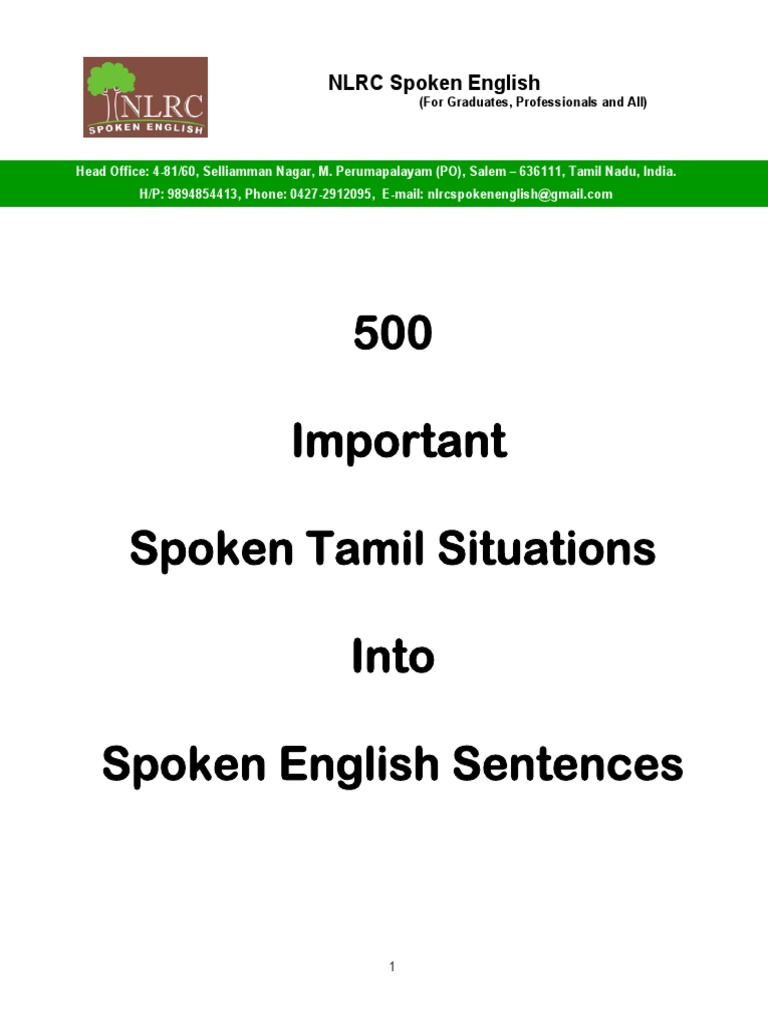 500 Important Spoken Tamil Situations Into Spoken English ...