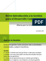 BREVE INTRODUCCIÓN A LA GESTIÓN PARA EL DESARROLLO COMUNITARIO