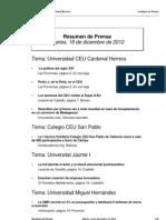 Resumen prensa CEU-UCH 18-12-2012