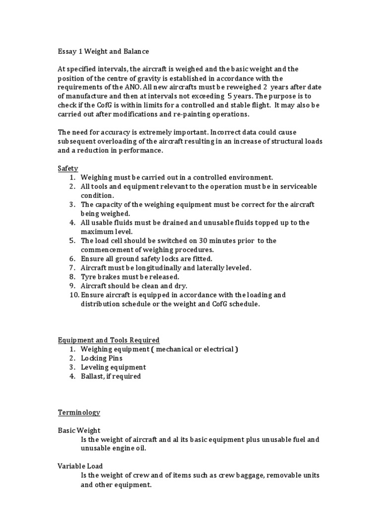 essay 1 weight and balance weight