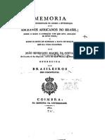 Memória sobre a necessidade de abolir a introdução de escravos no Brasil, por João Severiano Maciel da Costa