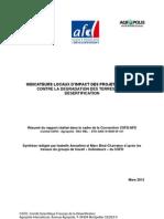 Indicateurs locaux d'impact des projets de lutte contre la dégradation des terres et la désertification. Résumé