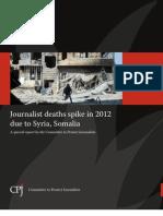 Informe anual Comité para la Protección de Periodistas.