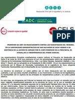 Declaración de ONGs sobre ley de cupo femenino en Jujuy (2010)