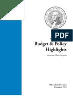 Gregoire 2013-2015 Budget Proposal