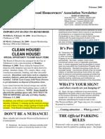 Westwood Homeowners Association 2-19-2008 Summary