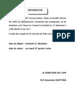 Université Alassane Ouattara de Bouaké (Côte d'Ivoire). UFR CMS. Calendrier des congés de Noël