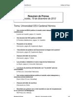 Resumen prensa CEU-UCH 19-12-2012