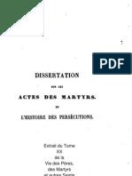 Dissertation sur les Actes des Martyrs