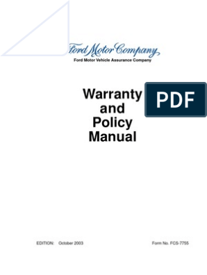 Ford Warranty & Policy Manual - User rights   Franchising