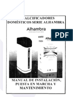 Manual Descalcificador Alhambra