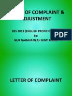 Letter of Complaint & Adjustment