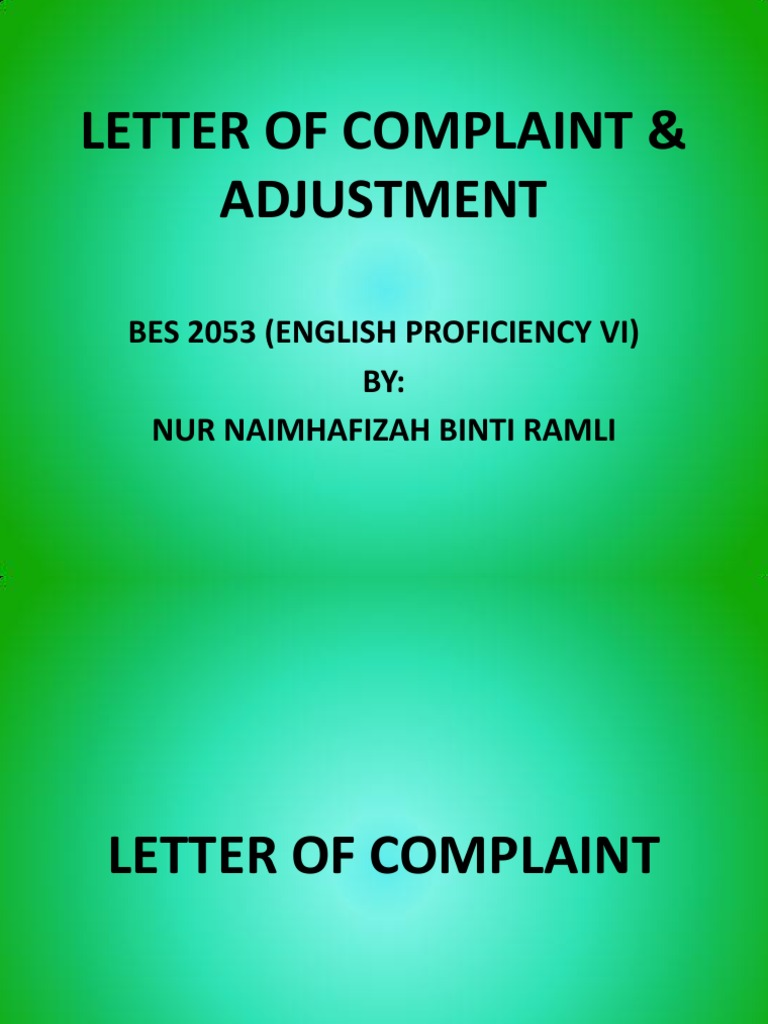 Letter of complaint adjustment empathy business spiritdancerdesigns Gallery
