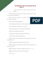 Ejercicios y problemas de la ecuación de la recta I