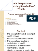 Islamic Perspective of Maximizaing Shareholders' Wealth