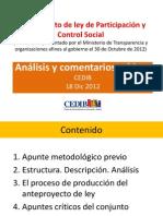Comentarios críticos al Anteproyecto ley Participación y Control Social