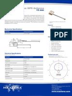 Embedded Active GPS Antenna - 15mm - Maxtena