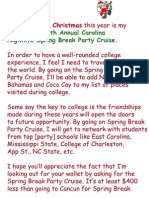 Letter to Santa for Spring Break Party Cruise