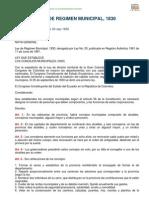 Ley de Regimen Municipal de Ecuador 1830