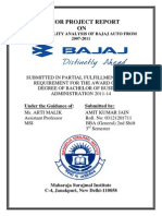 Minor Project Report on Bajaj Automobiles India