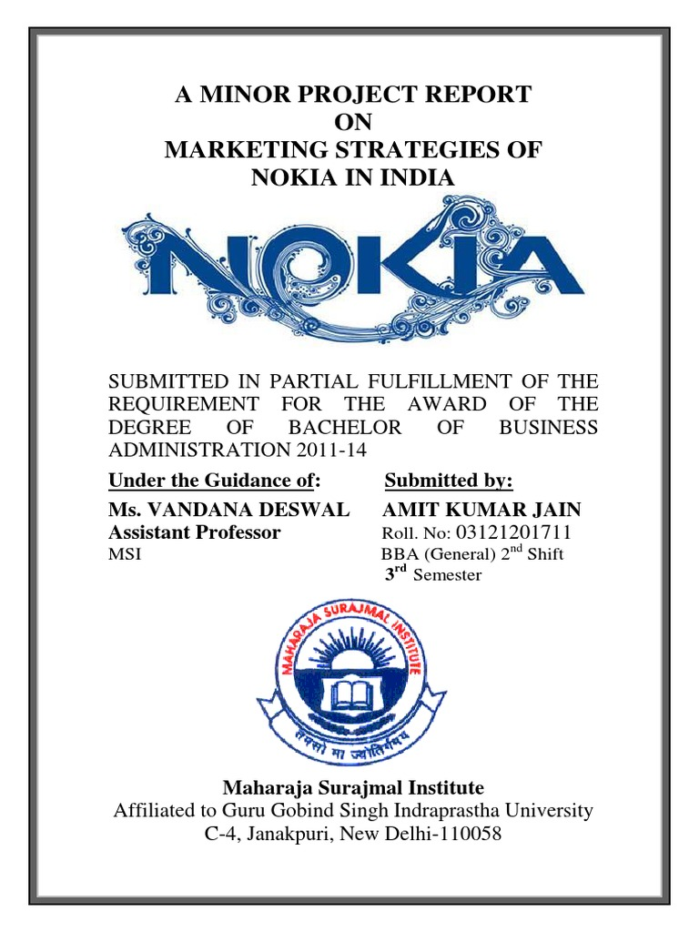 summer training project report on nokia