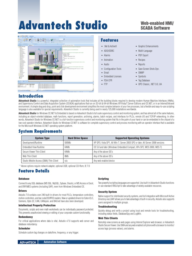Advantech Studio DS20120329174405 | Scada | Operating System