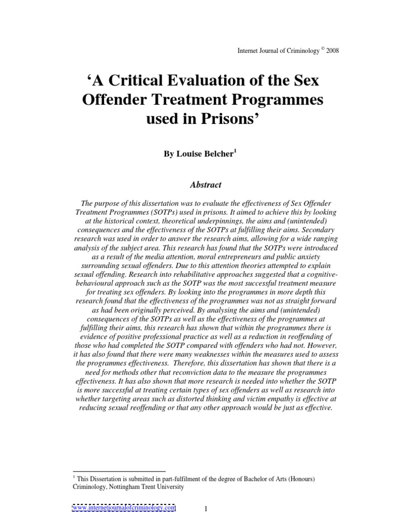 Evaluation sex offender treatment programme