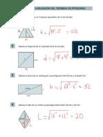 Problemas de Aplicación Teorema de Pitagoras Resueltos