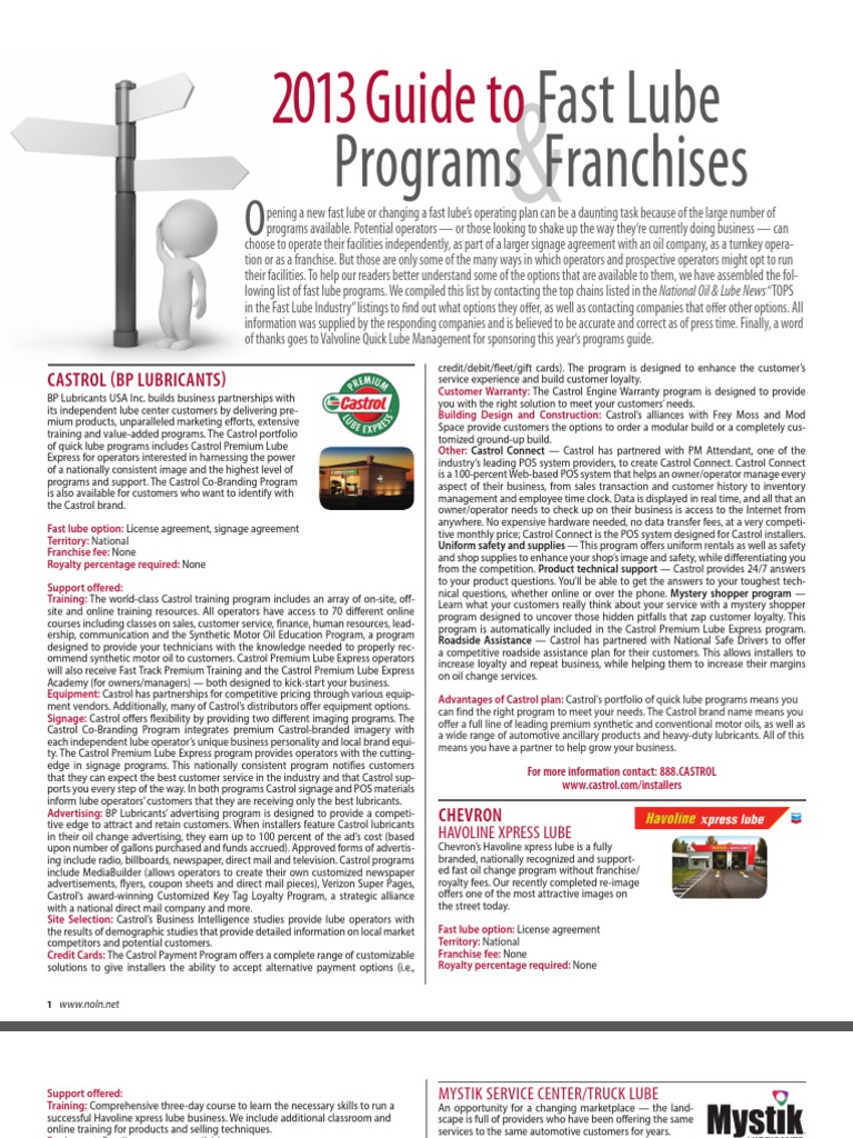 2013 Guide to Fast Lube Programs and Franchises   Franchising   Credit Card