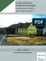 Aus den Eslarner Gemeinderatssitzungen. Mitschrift vom 20.12.2012