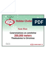 Concept2 2012 Holiday Challenge 200K Certificate