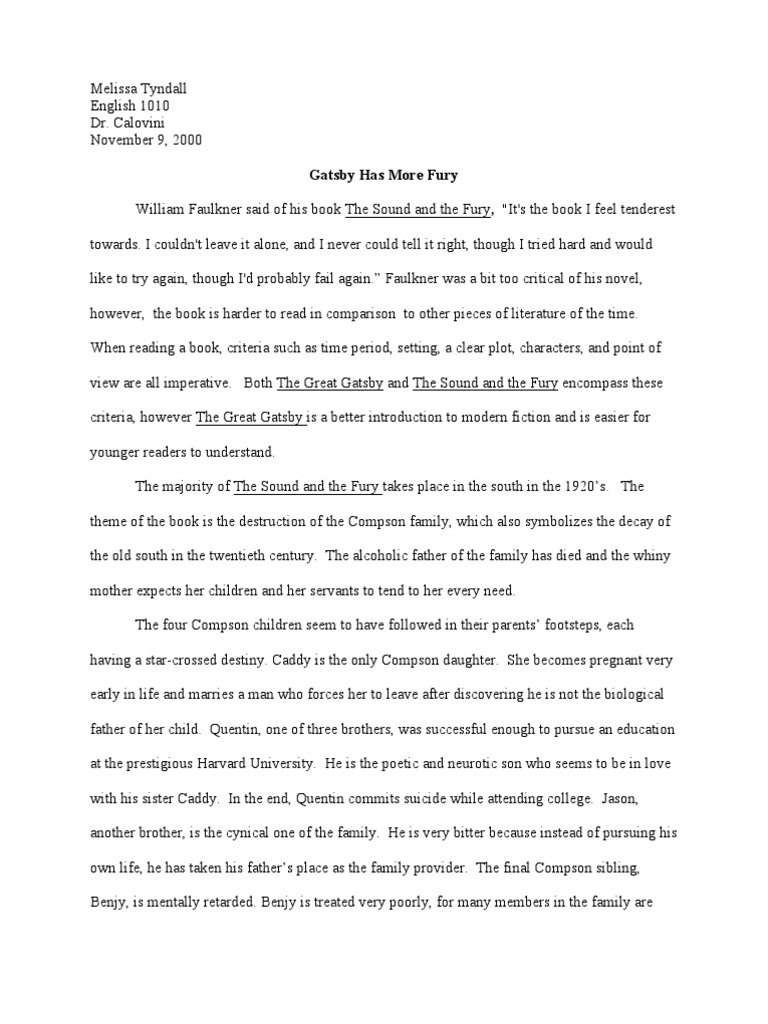 quentin sound and the fury essay  the sound and the fury essays and papers 123helpme com