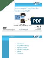 Solar Airplane Design - PhD Slides - ETHZ - A. Noth (30.09.2008)