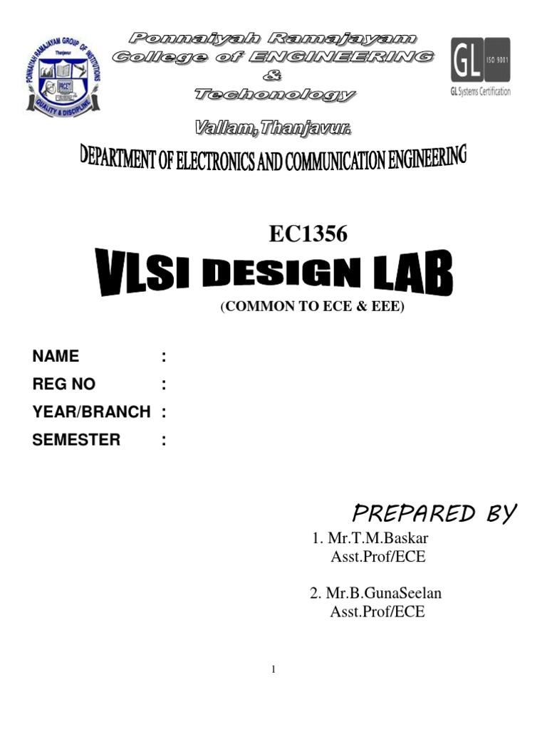 EC1356-VLSI Design Lab Manual EC1405 -VLSI Lab Manual | Field Programmable  Gate Array | Hardware Description Language