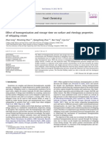 Effect of Homogenisation and Storage Time on Surface and Rheology Properties