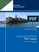 M.V MSC LUGANO Fire in E/R Investigation Report by ATSB