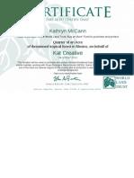 World Land Trust Certificate 2012