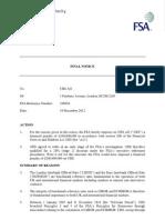 FSA Final Notice to UBS re LIbor