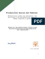 PRODUCCIÓN SOCIAL DEL HÁBITAT_REFLEXIONES SOBRE LOS DERECHOS, LAS POLÍTICAS Y LAS PERSPECTIVAS PARA EL LOBBY REGIONAL Y GLOBAL